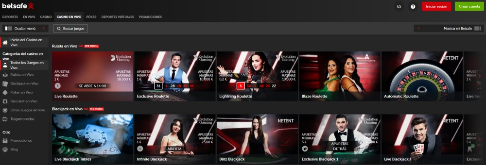betsafe casino en vivo