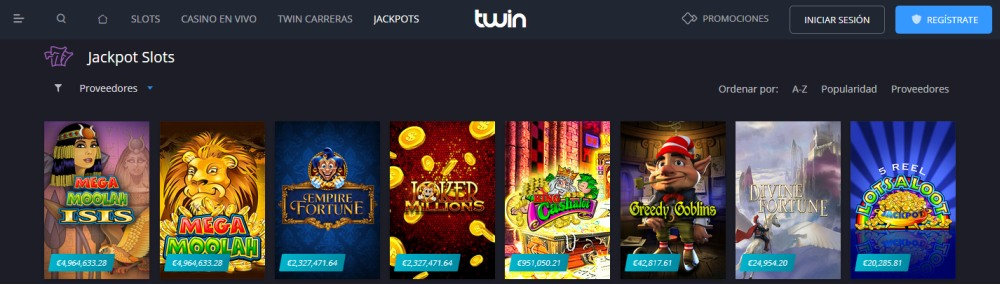 twin casino jackpots